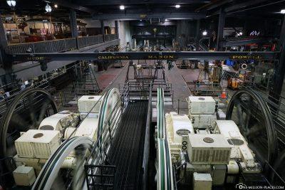 Die Motoren und Seilwinden der Cable Car