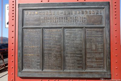 Infotafel der Golden Gate Bridge