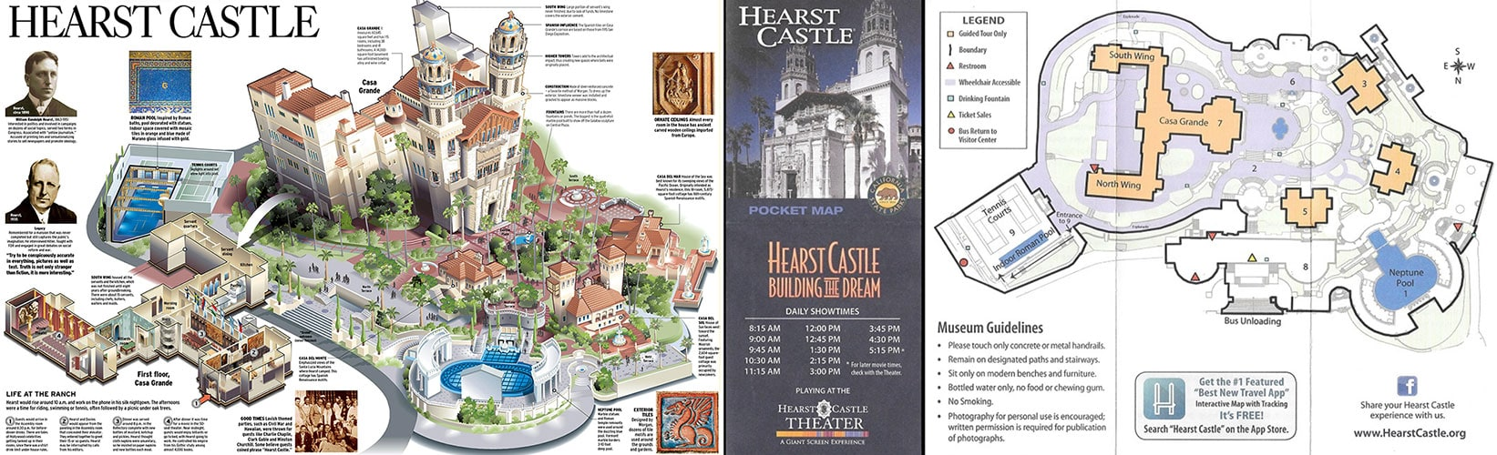 Karte, Plan, Hearst Castle, Kalifornien, USA