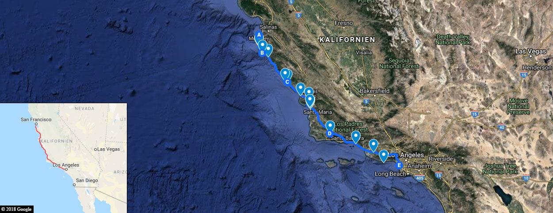 Highway 1, Karte, Fotostopps, GoogleMaps, Kalifornien, USA