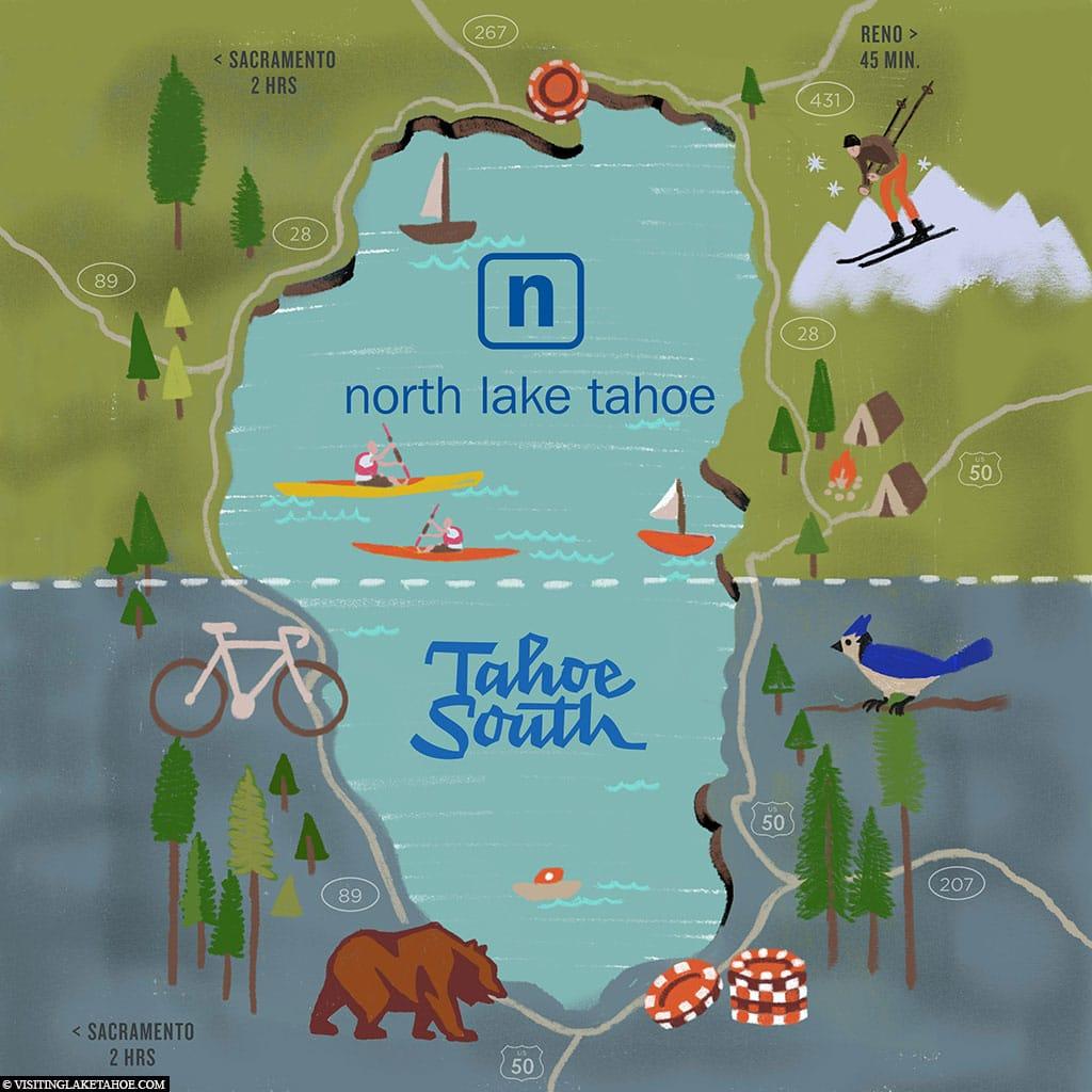 Lake Tahoe, Karte, Nord Lake Tahoe, Süd Lake Tahoe, USA, Reisebericht