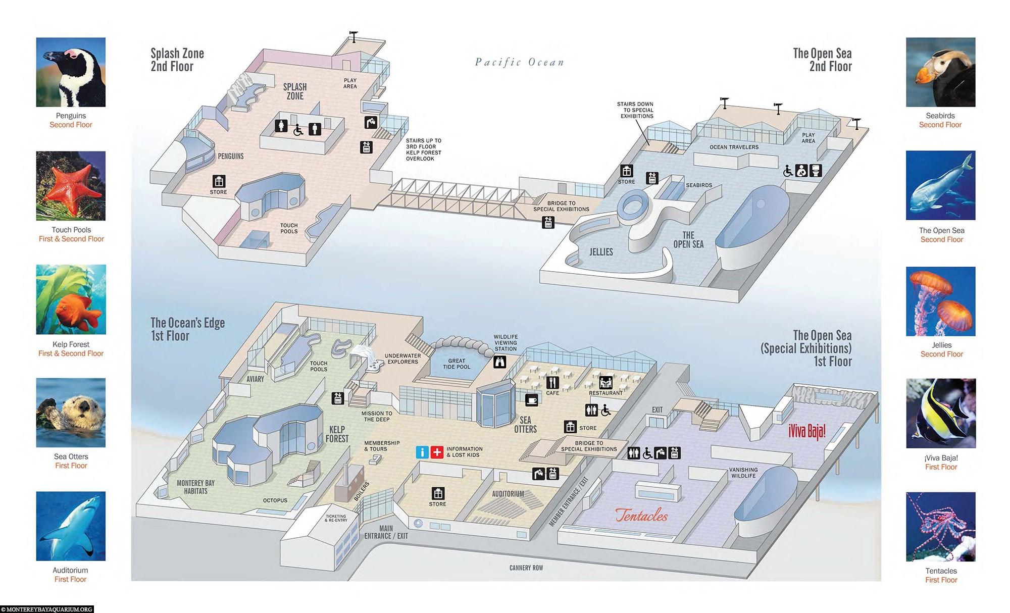 Monterey Bay Aquarium, Karte, Übersichtsplan, Kalifornien, USA