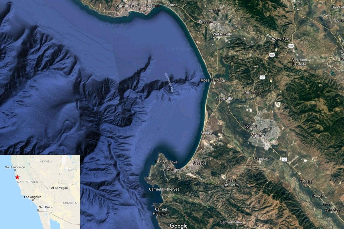 Monterey Bay, Map, Google, California, USA