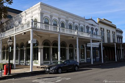 The restored buildings in Old Sacramento