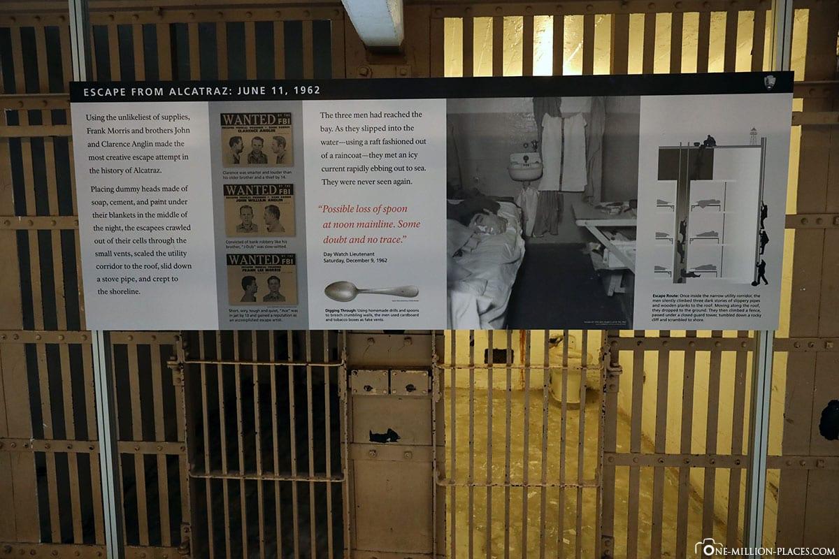 History Outbreak, Cell Tract, Cell Building, Alcatraz, Prison Island, High Security Prison, Day Tour, Excursion, Alcatraz Cruises, San Francisco, California, USA, Travelreport