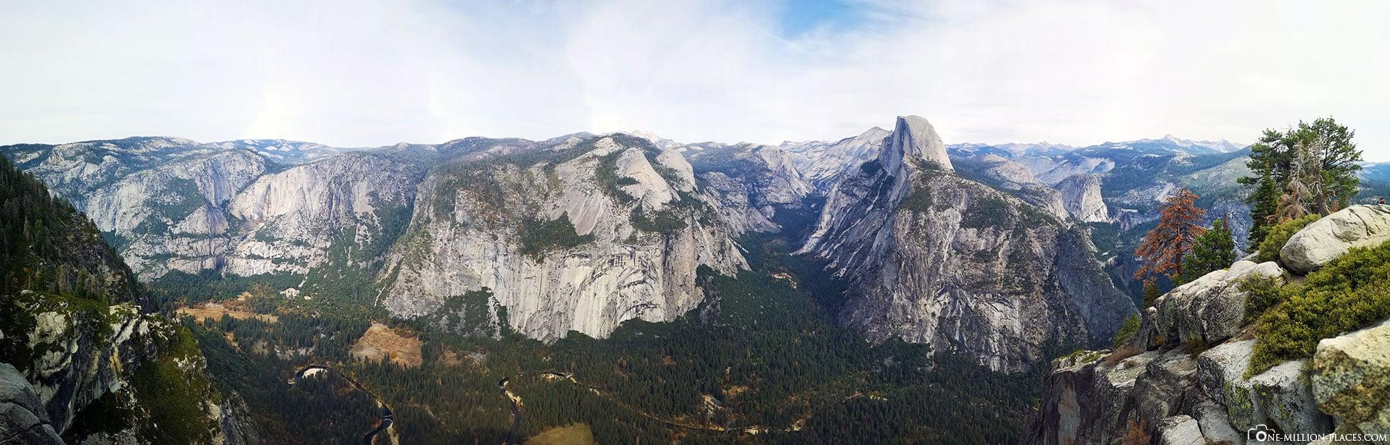 Panoramabild, Glacier Point, Yosemite Valley, Yosemite Nationalpark, Sehenswürdigkeiten, Kalifornien, USA, Reisebericht