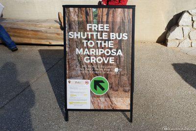 The free shuttle to Mariposa Grove
