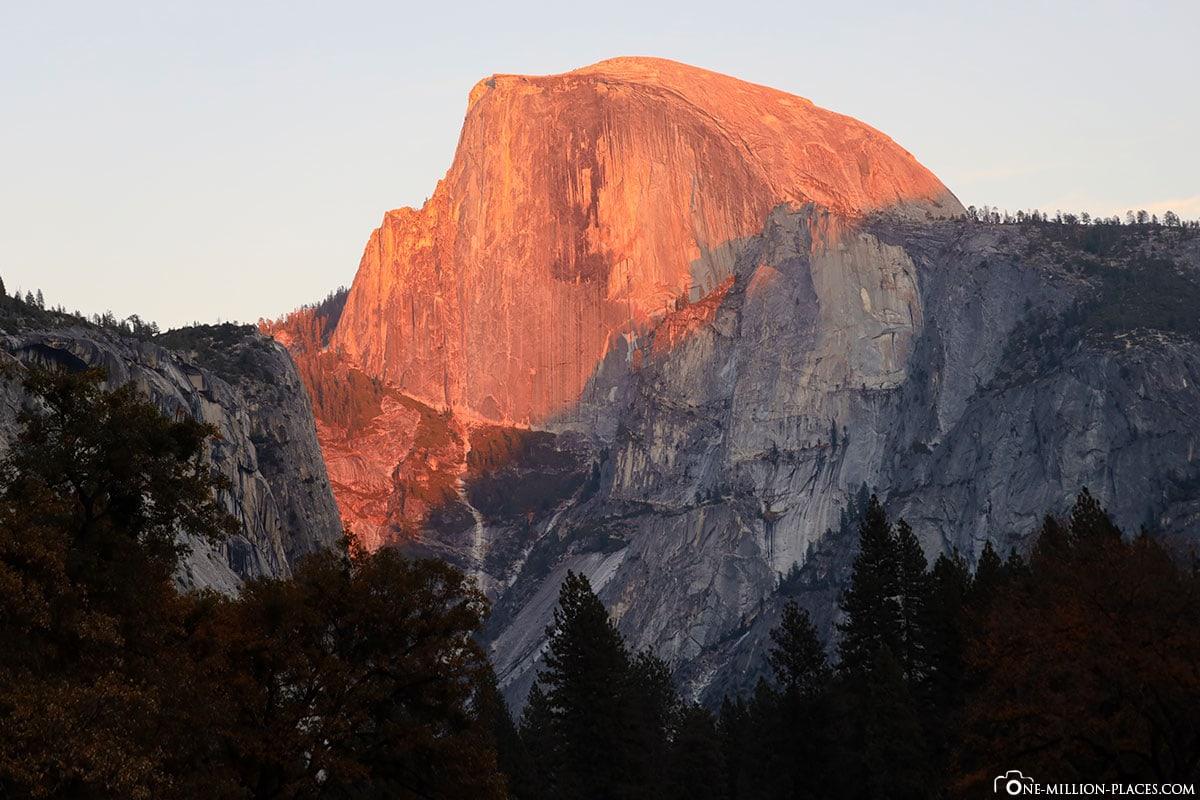 Sonnenuntergang, Half Dome, Yosemite Nationalpark, Sehenswürdigkeiten, Kalifornien, USA, Reisebericht