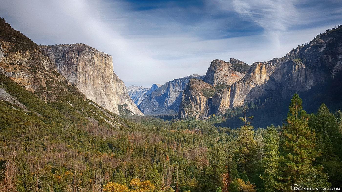 Tunnel View, Aussichtspunkt, Yosemite Nationalpark, Sehenswürdigkeiten, Kalifornien, USA, Reisebericht