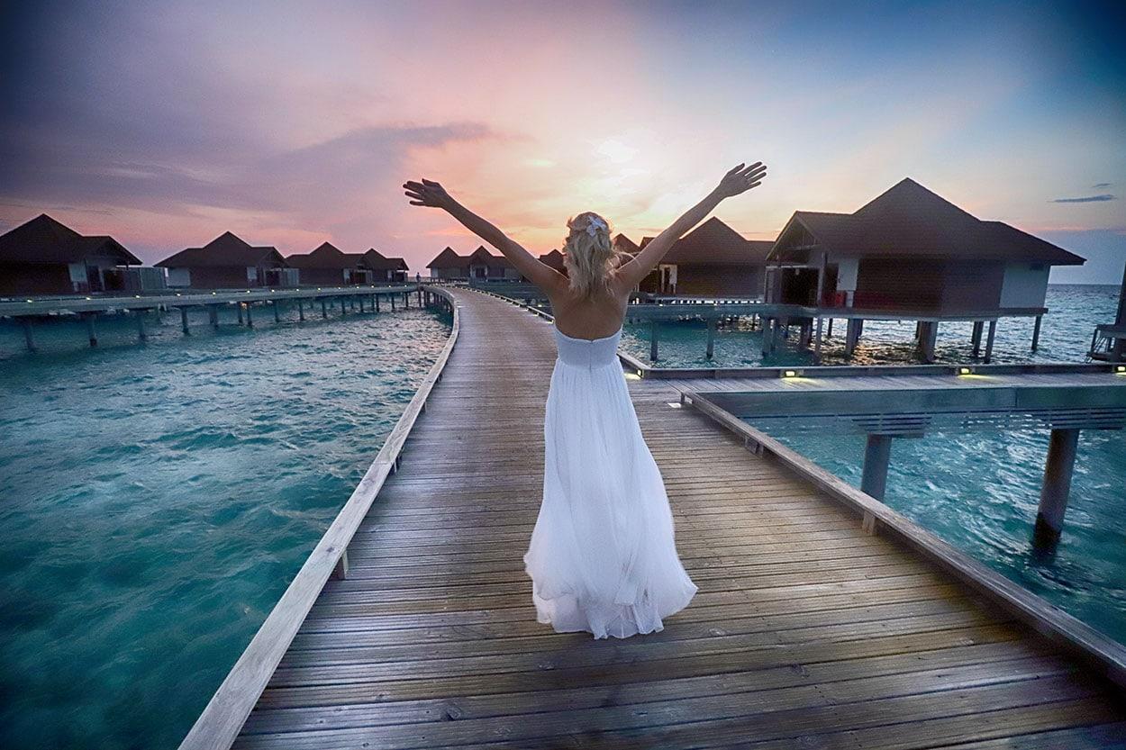 Malediven, Brautkleid, Fotoshooting, Sonnenuntergang