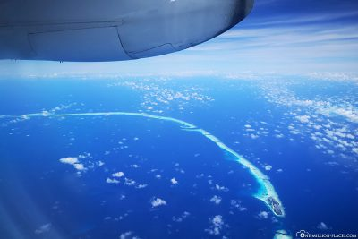 Flight over the atolls of the Maldives