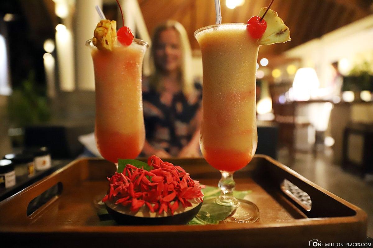 cocktails, restaurant, buffet, catering, all inclusive, ROBINSON Club Maldives, Maldives, Gaaf-Alif-Atoll, travel o'report