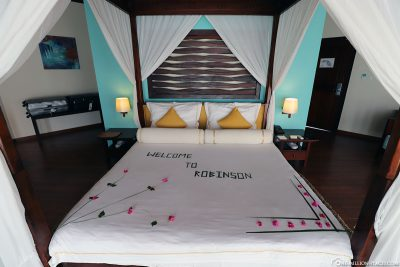 The King Size bed in the water bungalow