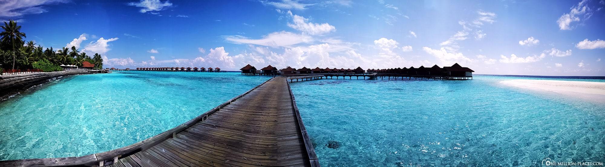 Panoramabild Steg, Wasserbungalow, Overwater Bungalow, BUM2, ROBINSON Club Maldives, Malediven, Gaaf-Alif-Atoll, Reisebericht