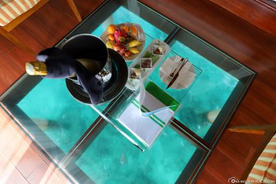 View of the water from the glass floor
