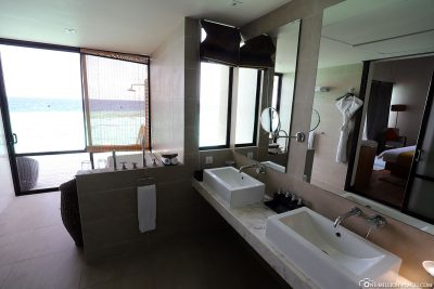The bathroom of the Overwater Bungalow