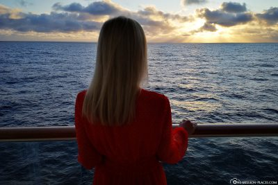 Sonnenuntergang von der Balkonkabine