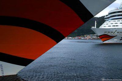 AIDAsol and AIDAdiva in Bergen