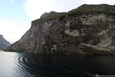 The steep slopes of the Geirangerfjord