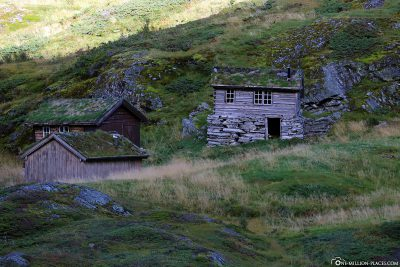 Old wooden houses on an abandoned farm