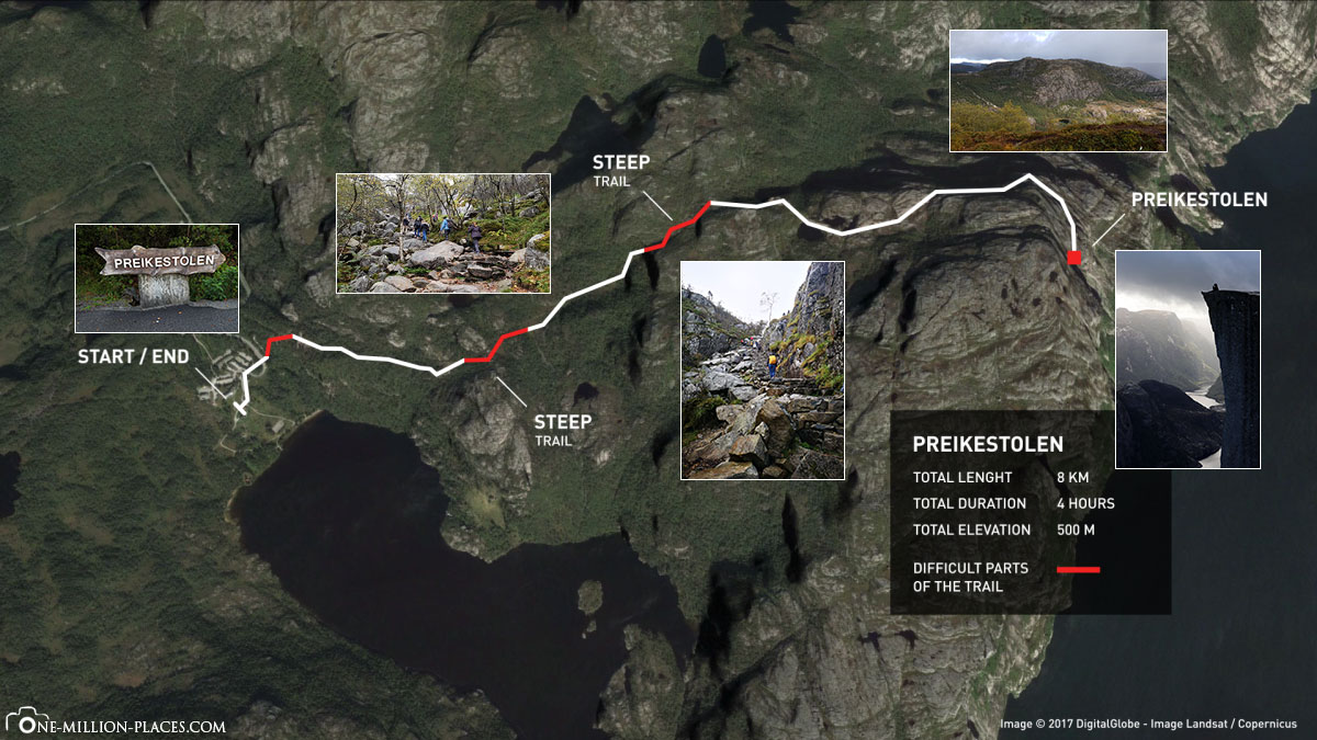 Preikestolen, Map, Hiking, Hiking Trail, Route, Norway