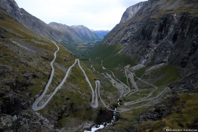 The panoramic road Trollstigen in the town of Endalsnes