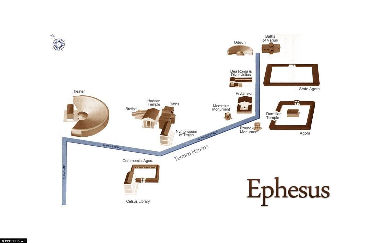 Karte, Lageplan, Ephesus, Ruinen, Ausgrabungsstätte, UNESCO Weltkulturerbe, Türkei, Ägäisküste, Kreuzfahrt