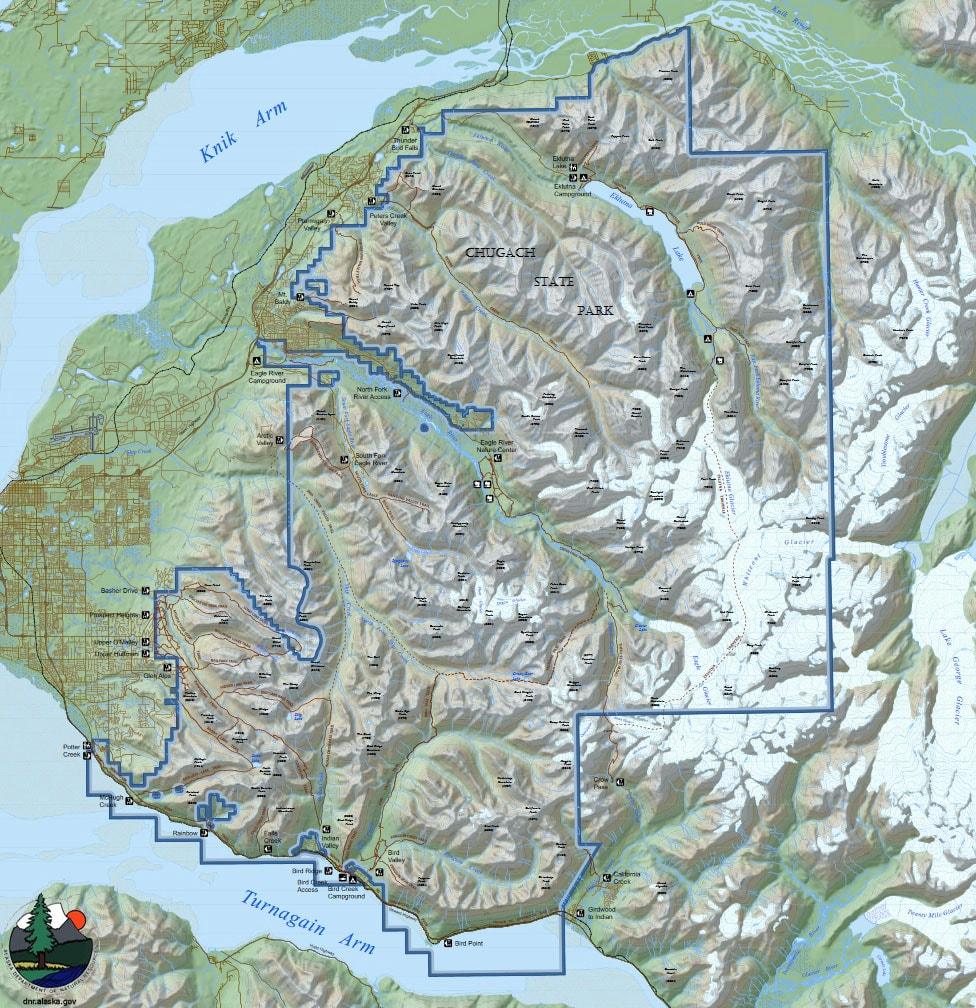 Chugach State Park, Karte, Alaska, USA, Reisebericht