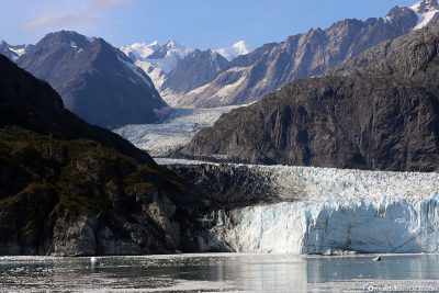 The path of the glacier through the mountains