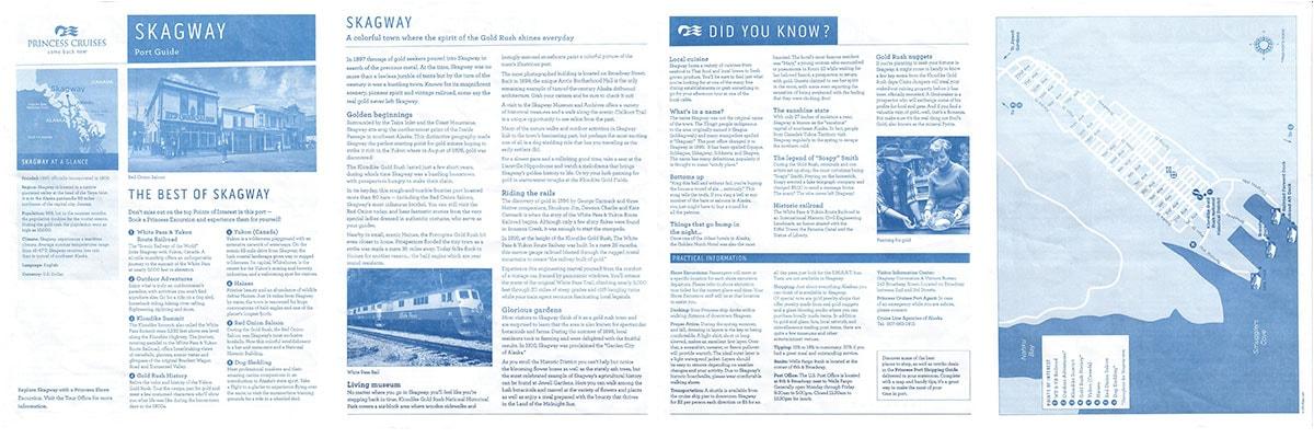 Hafeninfo von Pincess Cruises für Skagway, Alaska, USA, Reisebericht Kreuzfahrt