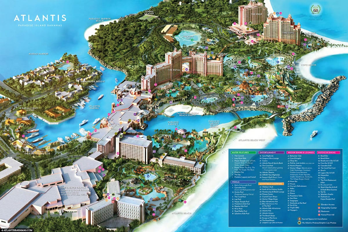 Hotel Atlantis, Map, Plan, Bahamas, Paradise Island