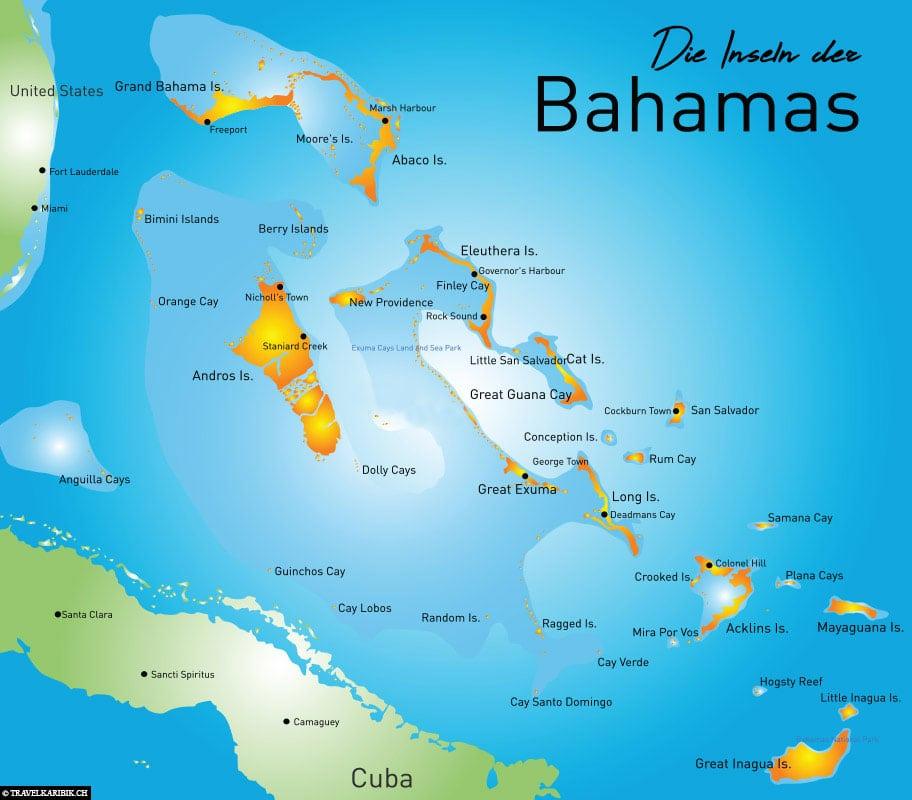 Bahamas, Inseln, Karte, Karibik