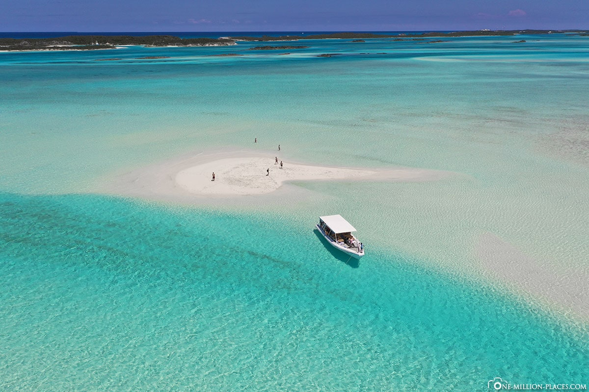 Drone Shot, DJI, Pipe Cay, Sandbank, Turquoise Blue Water, Exumas, Bahamas, Travelreport