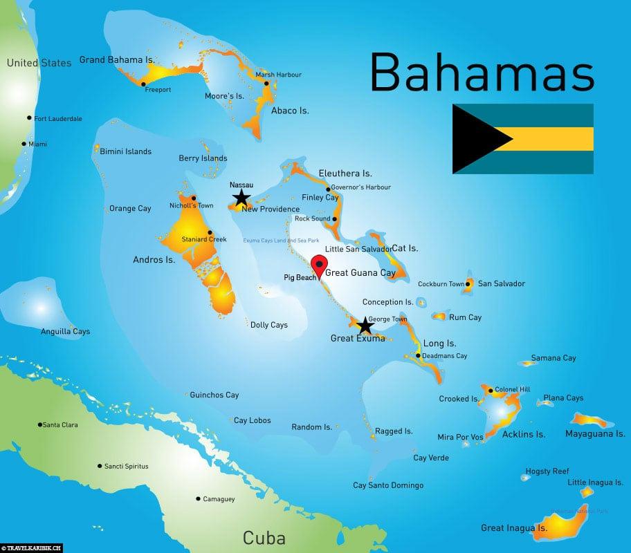 Schwimmende Schweine, Karte, Lage, Bahamas, Reisebericht