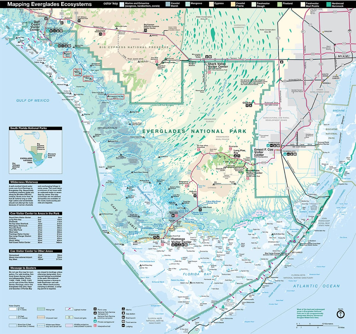 Map, Everglades National Park, Map, Florida, USA