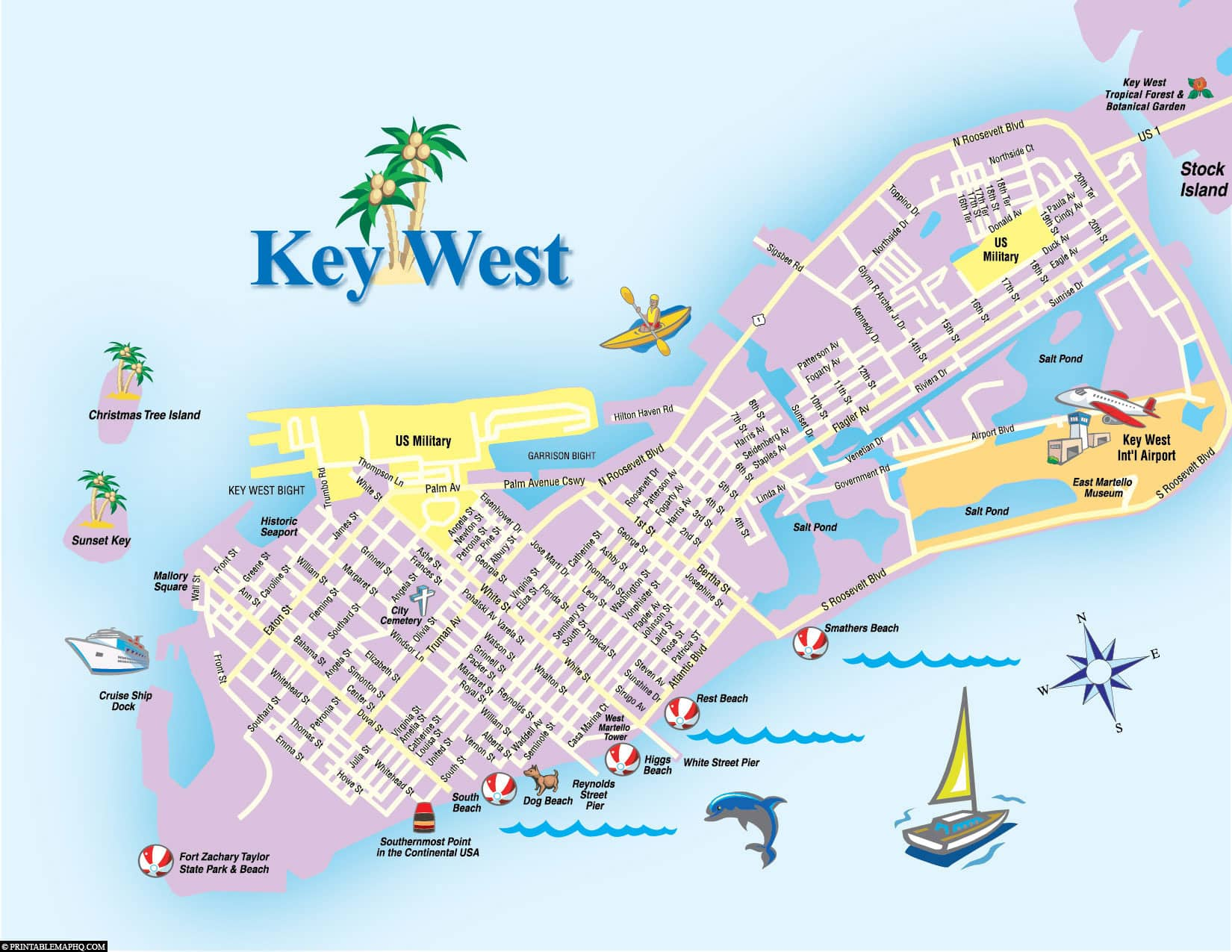 Key West, Map, Florida Keys, Plan, USA, Travelreport