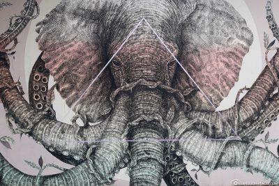 Elefant als Wandmotiv
