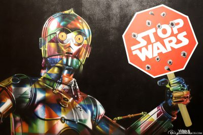 C3PO with Stop Wars Shield