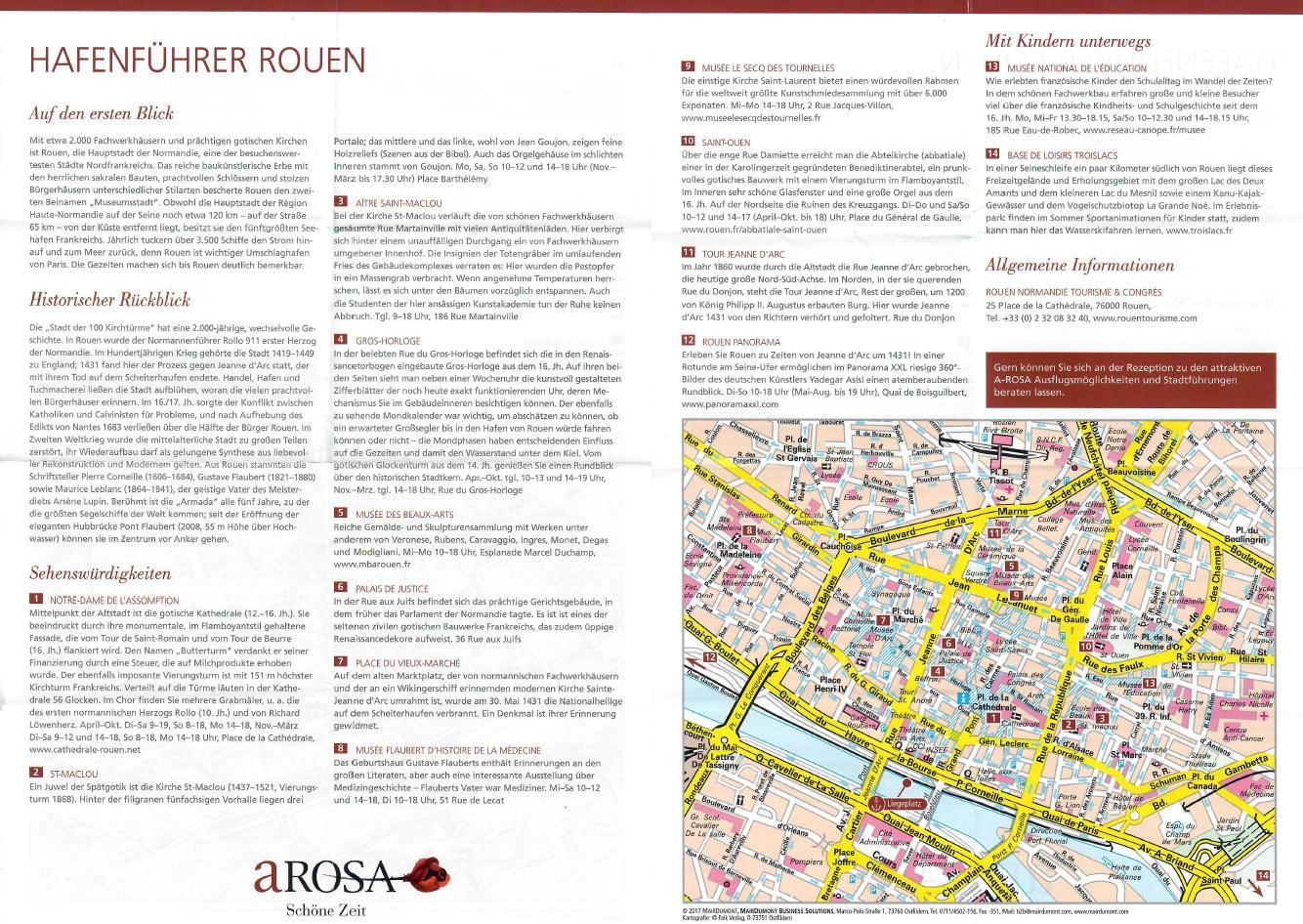 Rouen, Hafenführer, A-ROSA, Reisebericht, Seine Flusskreuzfahrt