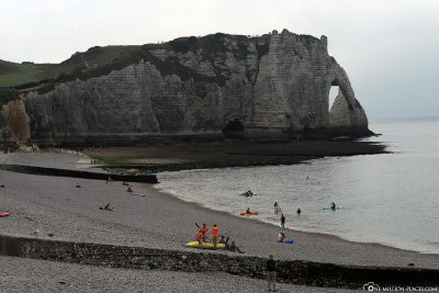 View of the beach and the cliffs