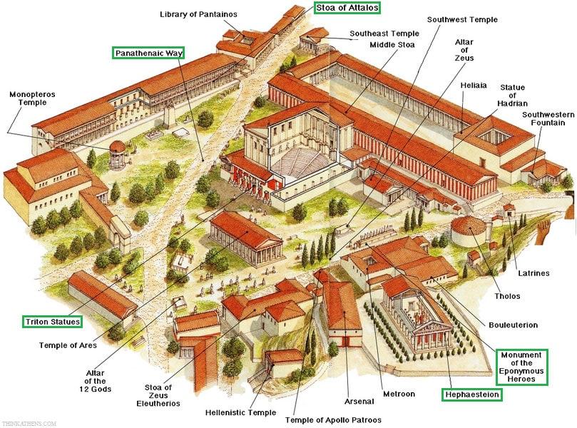 Plan, Rekonstruktion, Karte, Athen, Athener Agora, Griechenland, Sehenswürdigkeiten, Reisebericht, Fotospot