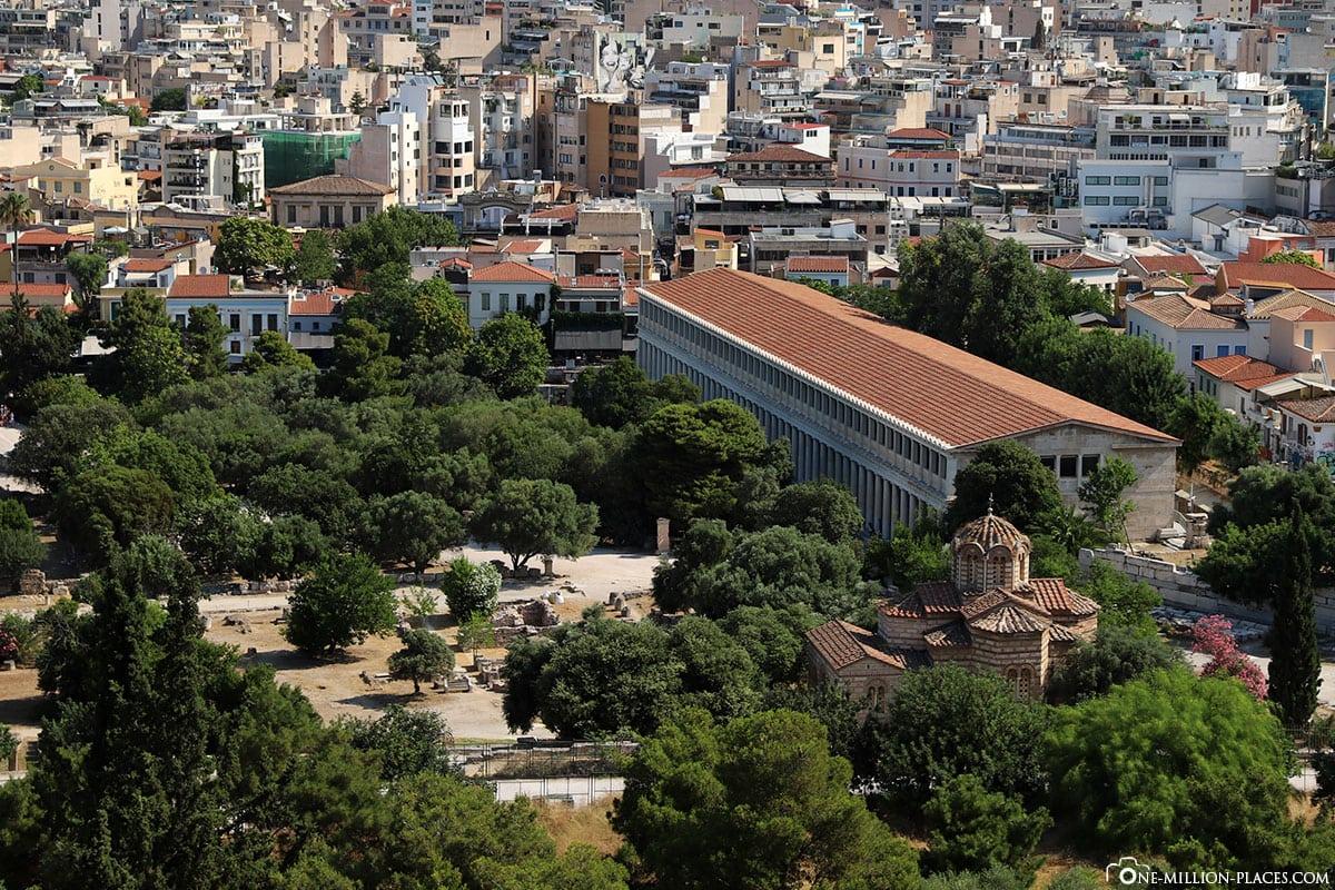 Blick auf die Athener Agora, Griechenland, Sehenswürdigkeiten, Reisebericht, Fotospot