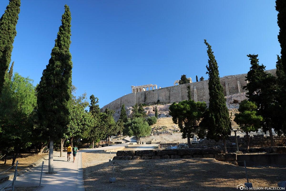 Gelände, Akropolis, Athen, Bericht
