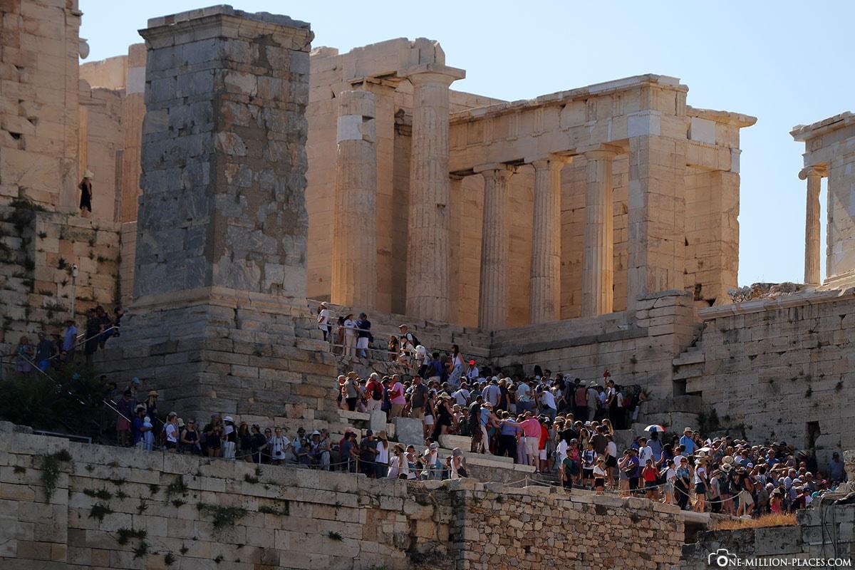 Propyläen, Akropolis, Athen, Besuchermassen, Beste Zeit, Reisebericht