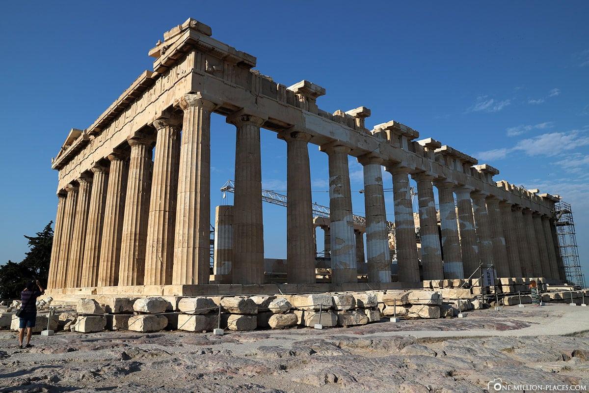 Seitenansicht, Parthenon, Akropolis, Athen, Griechenland, Reisebericht, Blogbeitrag