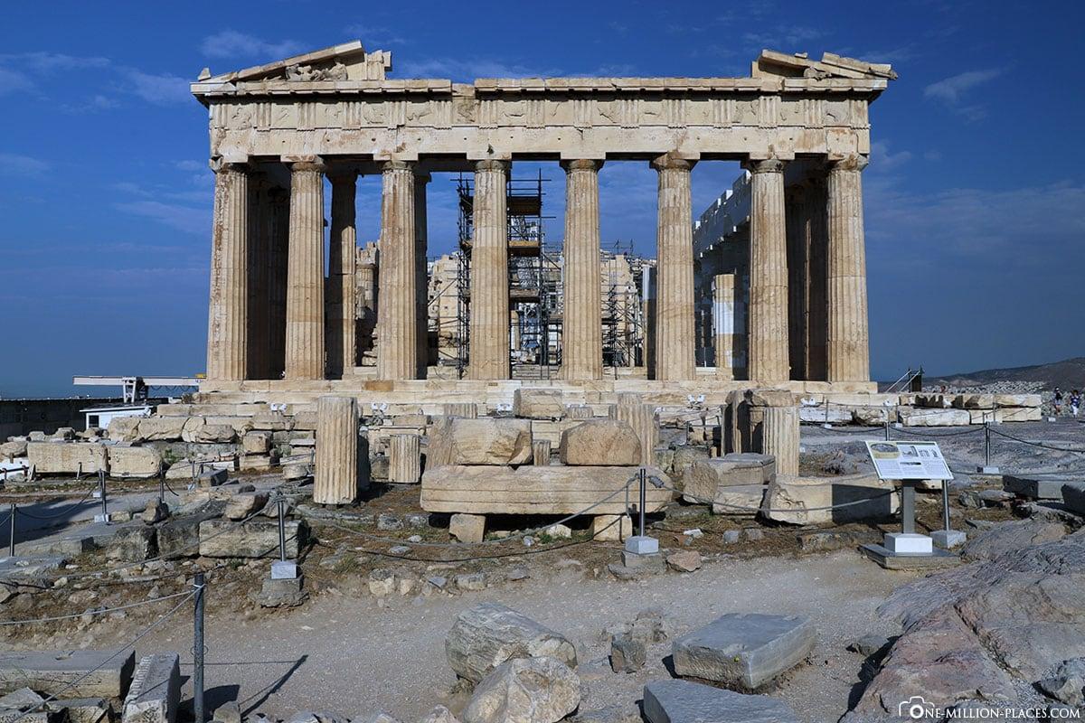 Frontansicht, Parthenon, Akropolis, Athen, Griechenland, Reisebericht, Blogbeitrag