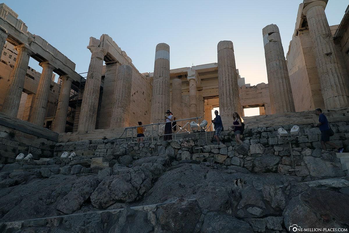 Weg, Propyläen, Akropolis, Athen, Griechenland, Reisebericht, Blog