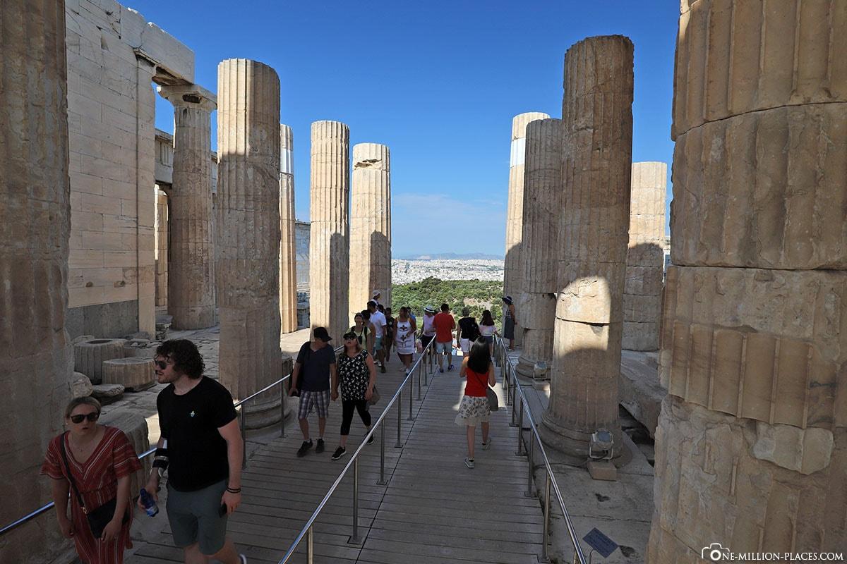 Säulen, Propyläen, Akropolis, Athen, Griechenland, Reisebericht, Blog