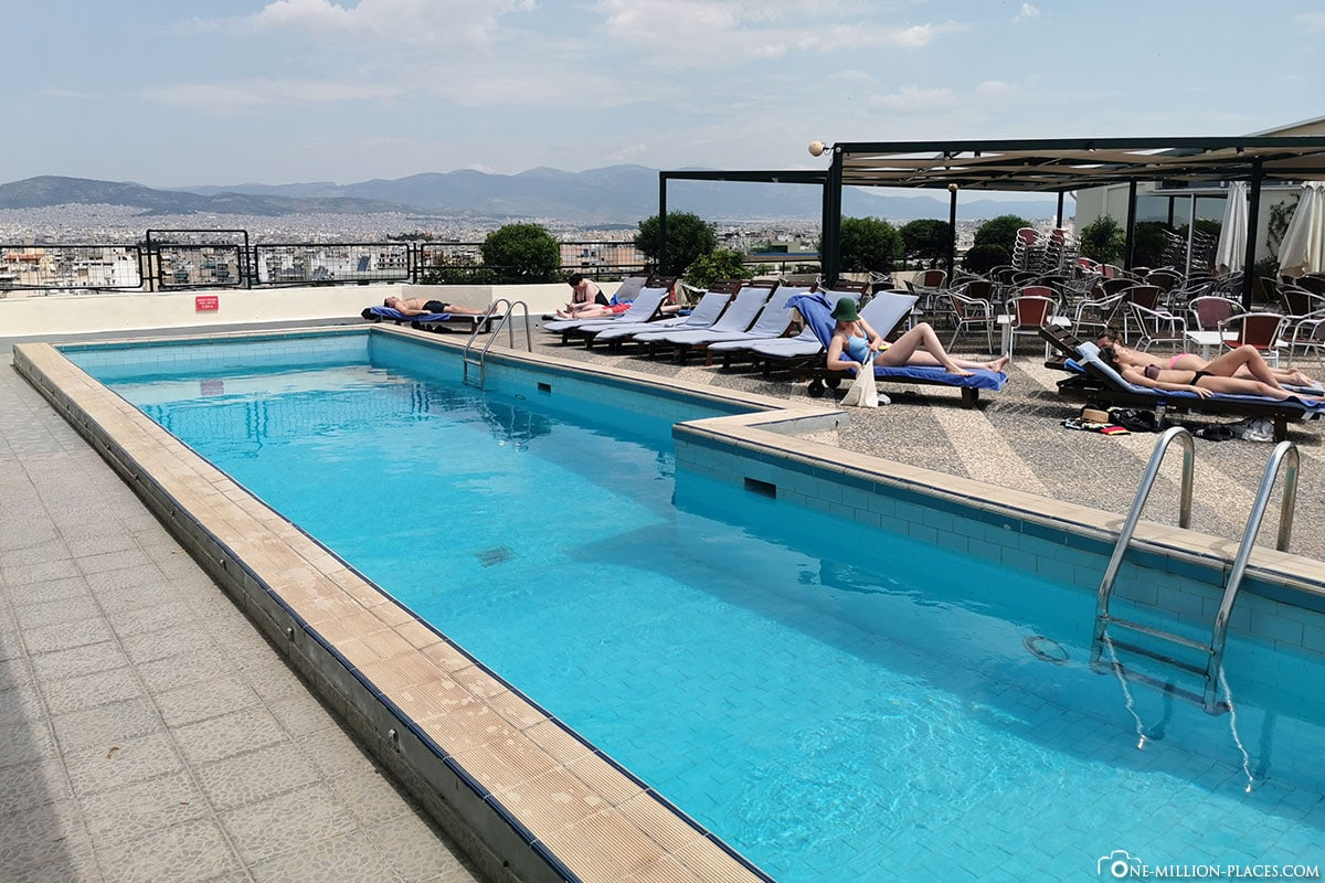 Athen Hotel Stanley, Dachterrasse, Pool, Aussicht, Erfahrung