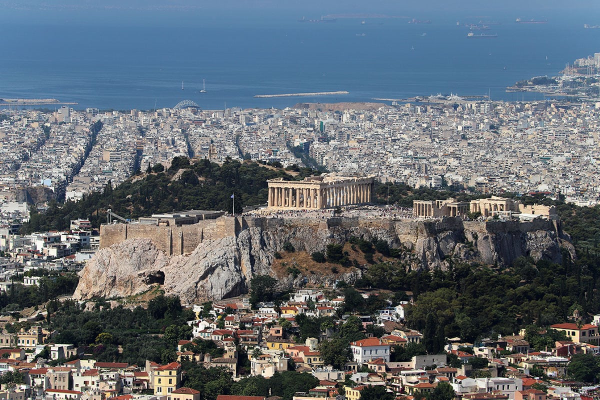 Blick auf die Akropolis, Stadtberg Lykavittos, Athen, Griechenland, Sehenswürdigkeiten, Reisebericht, Fotospot